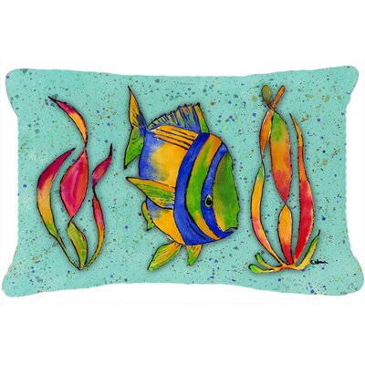 Tropical Fish Indoor/Outdoor Throw Pillow Color: Teal