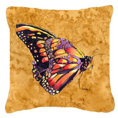 Butterfly Indoor/Outdoor Square Orange Throw Pillow Size: 18 H x 18 W x 5.5 D