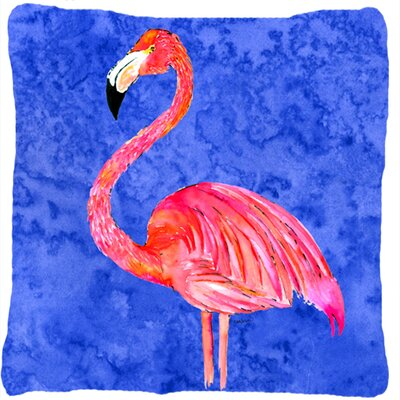 Flamingo Blue; Red Indoor/Outdoor Throw Pillow