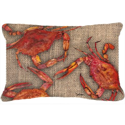 Burgett Cooked Crab on Faux Burlap Indoor/Outdoor Throw Pillow
