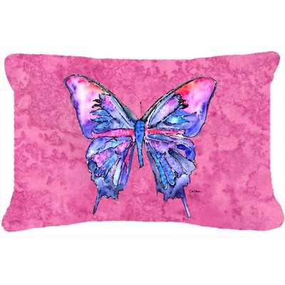 Butterfly Indoor/Outdoor Blue Rectangular Throw Pillow Color: Pink