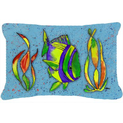 Tropical Fish Indoor/Outdoor Throw Pillow Color: Blue