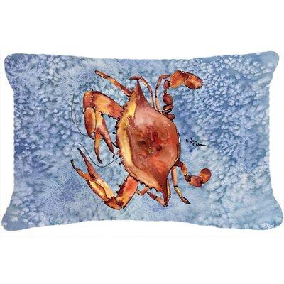 Burgett Crab Rectangular Blue Indoor/Outdoor Throw Pillow