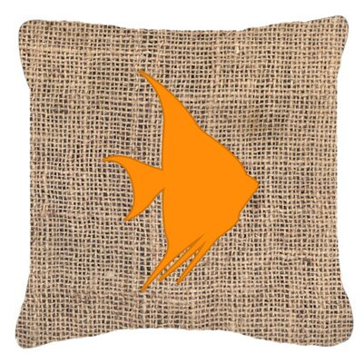 Angel Fish Burlap Indoor/Outdoor Throw Pillow Size: 14 H x 14 W x 4 D, Color: Orange