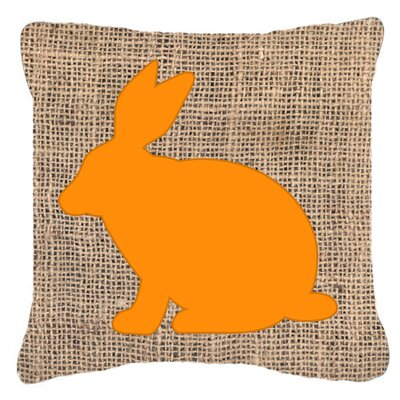 Rabbit Burlap Indoor/Outdoor Throw Pillow Size: 14 H x 14 W x 4 D, Color: Orange