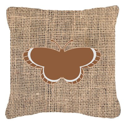 Butterfly Graphic Print Burlap Indoor/Outdoor Throw Pillow Size: 14 H x 14 W x 4 D, Color: Brown
