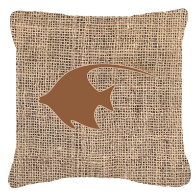 Angel Fish Burlap Indoor/Outdoor Throw Pillow Size: 14 H x 14 W x 4 D, Color: Brown