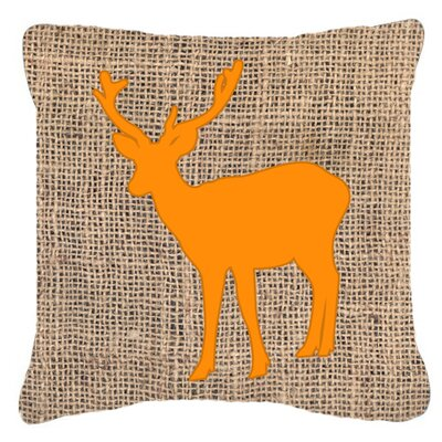 Deer Burlap Square Indoor/Outdoor Throw Pillow Size: 14 H x 14 W x 4 D, Color: Orange