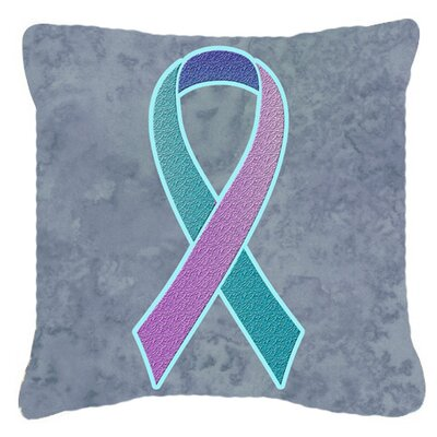 Ribbon for Thyroid Cancer Awareness Indoor/Outdoor Throw Pillow Size: 14 H x 14 W x 4 D