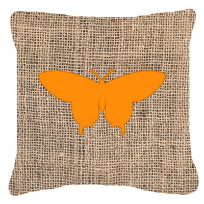 Elegant Butterfly Burlap Square Indoor/Outdoor Throw Pillow Size: 14 H x 14 W x 4 D, Color: Orange