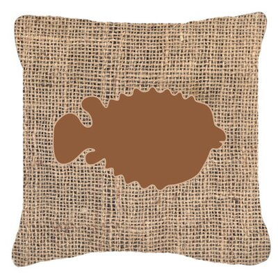 Blowfish Burlap Indoor/Outdoor Throw Pillow Size: 14 H x 14 W x 4 D, Color: Brown