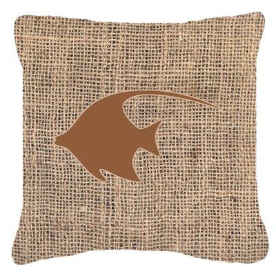 Angel Fish Burlap Indoor/Outdoor Throw Pillow Size: 18 H x 18 W x 5.5 D, Color: Brown