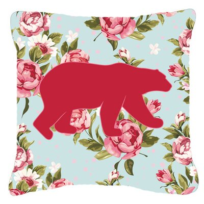 Bear Shabby Elegance Blue Roses Indoor/Outdoor Throw Pillow Size: 14 H x 14 W x 4 D