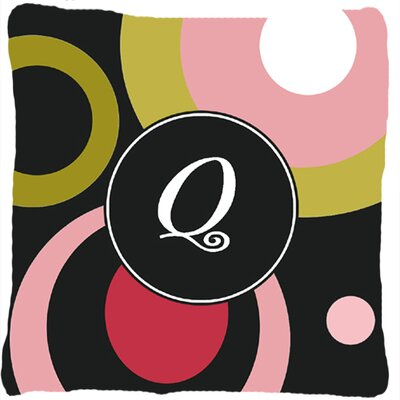 Monogram Retro in Black Indoor/Outdoor Throw Pillow Letter: Q