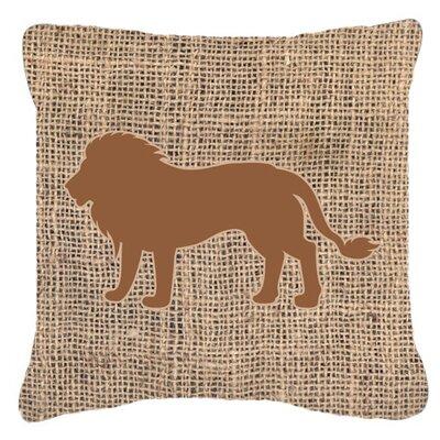 Lion Burlap Indoor/Outdoor Throw Pillow Size: 14 H x 14 W x 4 D, Color: Brown