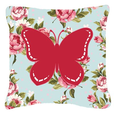 Butterfly Shabby Elegance Blue/Pink Roses Modern Fabric Indoor/Outdoor Throw Pillow Size: 14 H x 14 W x 4 D