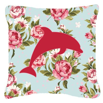 Dolphin Shabby Elegance Blue Roses Indoor/Outdoor Throw Pillow Size: 14 H x 14 W x 4 D