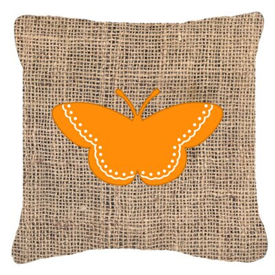 Modern Butterfly Burlap Indoor/Outdoor Throw Pillow Size: 18 H x 18 W x 5.5 D, Color: Orange