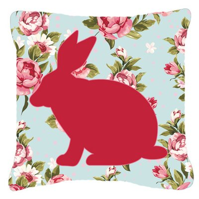 Rabbit Shabby Elegance Blue Roses Indoor/Outdoor Throw Pillow Size: 14 H x 14 W x 4 D