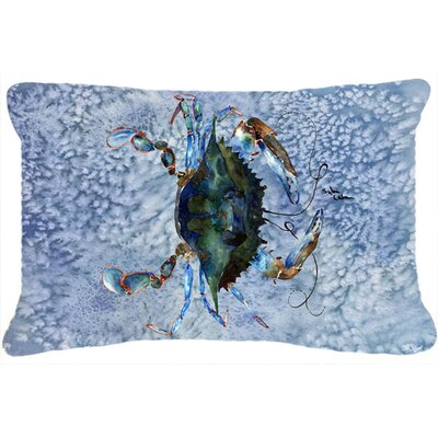 Burgett Crab Nautical Rectangular Blue Indoor/Outdoor Throw Pillow