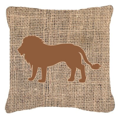 Lion Burlap Indoor/Outdoor Throw Pillow Size: 18 H x 18 W x 5.5 D, Color: Brown
