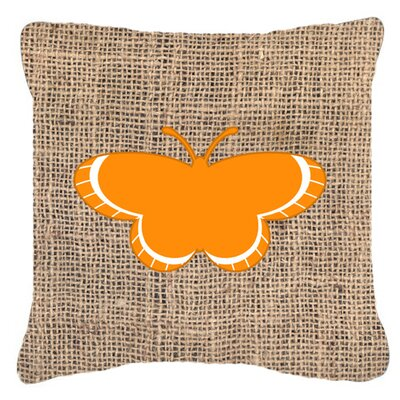 Butterfly Graphic Print Burlap Indoor/Outdoor Throw Pillow Size: 14 H x 14 W x 4 D, Color: Orange