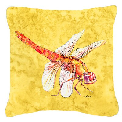 Dragonfly Yellow Indoor/Outdoor Throw Pillow Size: 14 H x 14 W x 4 D