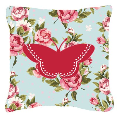 Modern  Butterfly Shabby Elegance Blue/Red Roses Indoor/Outdoor Throw Pillow Size: 14 H x 14 W x 4 D