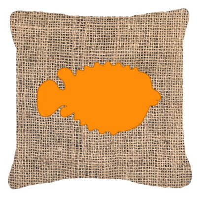 Blowfish Burlap Indoor/Outdoor Throw Pillow Size: 14 H x 14 W x 4 D, Color: Orange