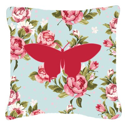 Contemporary Butterfly Shabby Elegance Blue Roses Square Indoor/Outdoor Throw Pillow Size: 14 H x 14 W x 4 D