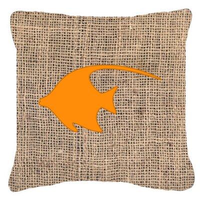 Angel Fish Burlap Indoor/Outdoor Throw Pillow Color: Orange, Size: 18 H x 18 W x 5.5 D