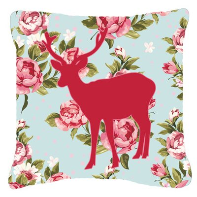 Deer Shabby Elegance Blue Roses Indoor/Outdoor Throw Pillow Size: 18 H x 18 W x 5.5 D
