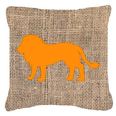 Lion Burlap Indoor/Outdoor Throw Pillow Size: 14 H x 14 W x 4 D, Color: Orange
