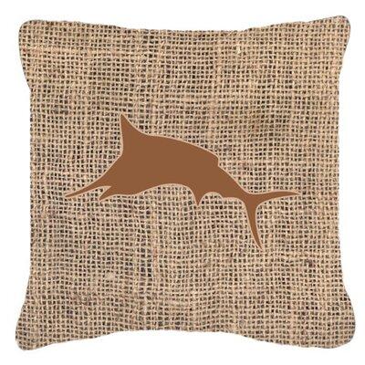 Marlin Burlap Indoor/Outdoor Throw Pillow Size: 14 H x 14 W x 4 D, Color: Brown