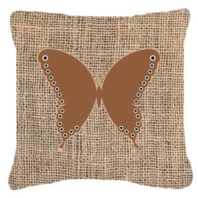 Butterfly Burlap Mildew Resistant Indoor/Outdoor Throw Pillow Size: 14 H x 14 W x 4 D, Color: Brown