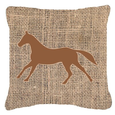 Horse Burlap Indoor/Outdoor Throw Pillow Size: 14 H x 14 W x 4 D, Color: Brown