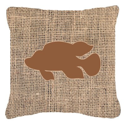 Tropical Fish Burlap Indoor/Outdoor Throw Pillow Size: 14 H x 14 W x 4 D, Color: Brown