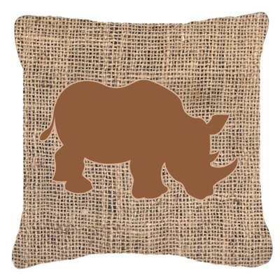 Rhinoceros Burlap Indoor/Outdoor Throw Pillow Size: 18 H x 18 W x 5.5 D, Color: Brown