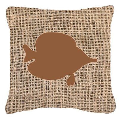 Tang Fish Burlap Indoor/Outdoor Throw Pillow Size: 18 H x 18 W x 5.5 D, Color: Brown