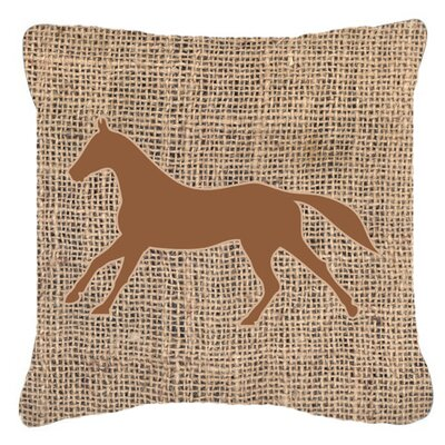 Horse Burlap Indoor/Outdoor Throw Pillow Size: 18 H x 18 W x 5.5 D, Color: Brown