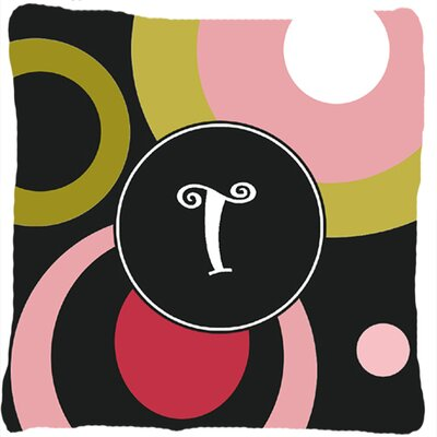 Monogram Retro in Black Indoor/Outdoor Throw Pillow Letter: T