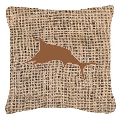 Marlin Burlap Indoor/Outdoor Throw Pillow Size: 18 H x 18 W x 5.5 D, Color: Brown