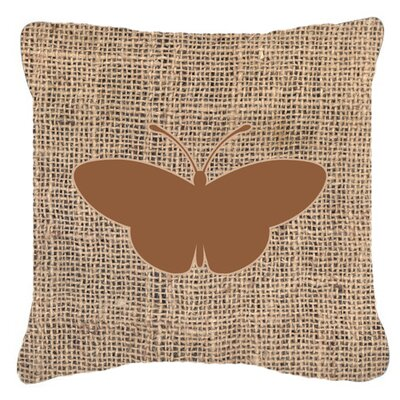 Modern Butterfly Burlap Fade Resistant Indoor/Outdoor Throw Pillow Size: 14 H x 14 W x 4 D, Color: Brown