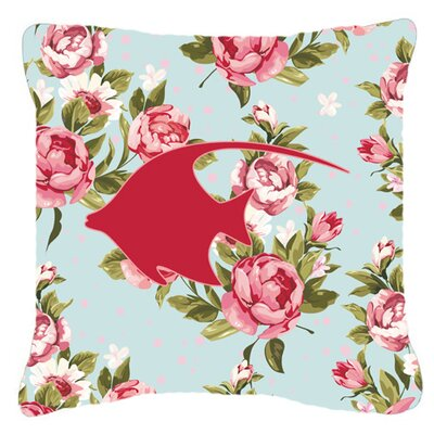 Angel Fish Shabby Elegance Blue Roses Indoor/Outdoor Throw Pillow Size: 18 H x 18 W x 5.5 D