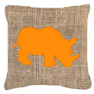 Rhinoceros Burlap Indoor/Outdoor Throw Pillow Size: 14 H x 14 W x 4 D, Color: Orange