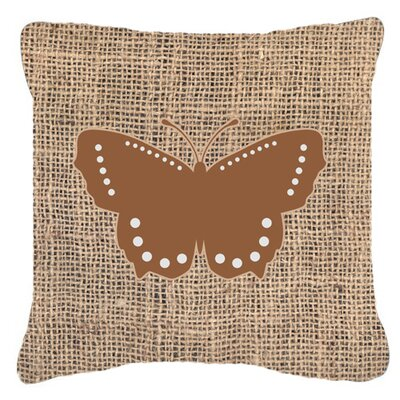 Modern Butterfly Burlap Water Resistant Indoor/Outdoor Throw Pillow Size: 18 H x 18 W x 5.5 D, Color: Brown