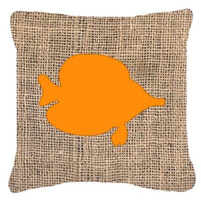 Tang Fish Burlap Indoor/Outdoor Throw Pillow Size: 14 H x 14 W x 4 D, Color: Orange