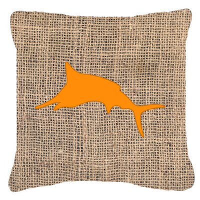 Marlin Burlap Indoor/Outdoor Throw Pillow Size: 14 H x 14 W x 4 D, Color: Orange