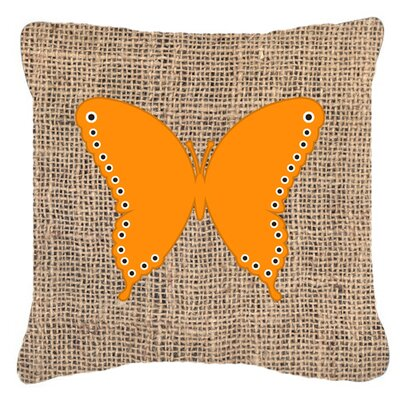 Butterfly Burlap Mildew Resistant Indoor/Outdoor Throw Pillow Size: 14 H x 14 W x 4 D, Color: Orange
