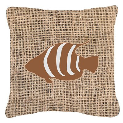Fish Burlap Indoor/Outdoor Throw Pillow Size: 14 H x 14 W x 4 D, Color: Brown